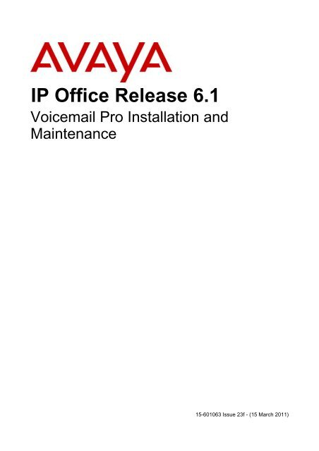 15-601063 IP Office Voicemail Pro Installation and