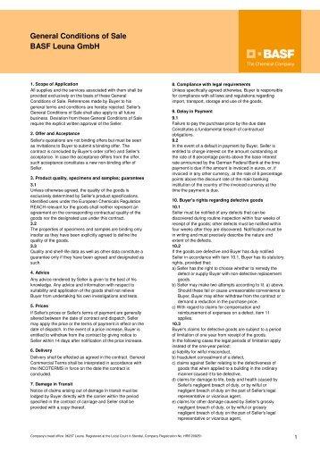 General Conditions of Sale BASF Leuna GmbH