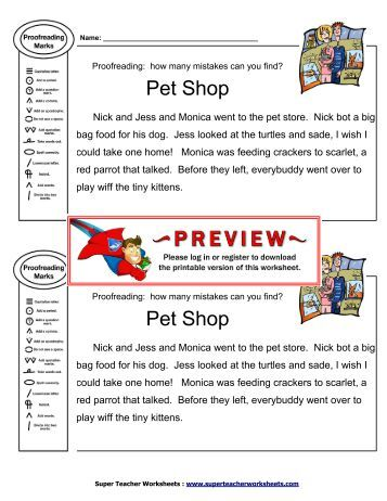 Editing & Proofreading: Candy Shop - Super Teacher Worksheets