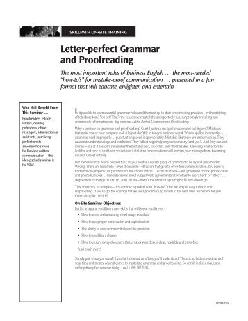 Letter-perfect Grammar and Proofreading - SkillPath   Seminars
