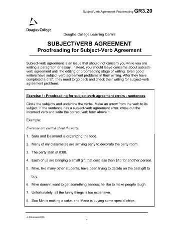 Proofreading for Subject-Verb Agreement - Douglas College