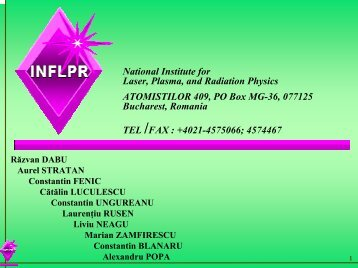 National Institute for Laser, Plasma, and Radiation Physics ... - IESL