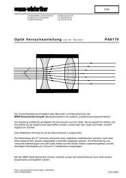 Optik Versuchsanleitung von W. Reinert PA0170 - MSW-Shop