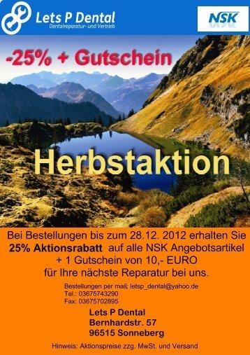 NSK Herbst- / Winterspecial 2012 - Lets P Dental