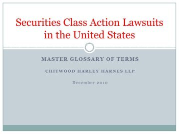 Securities Class Action Lawsuits in the United ... - Bridgehouse Law