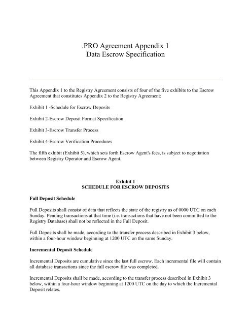 Pro Agreement Appendix 1 Data Escrow Specification Icann
