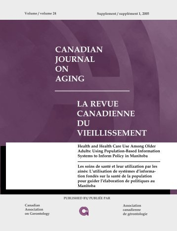 canadian journal on aging la revue canadienne du vieillissement