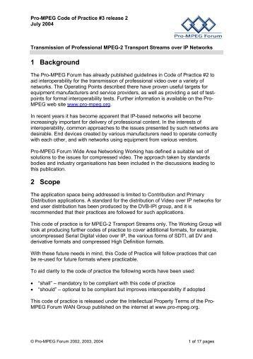 Pro-MPEG Code of Practice #3 release 2 - Pro-MPEG Forum
