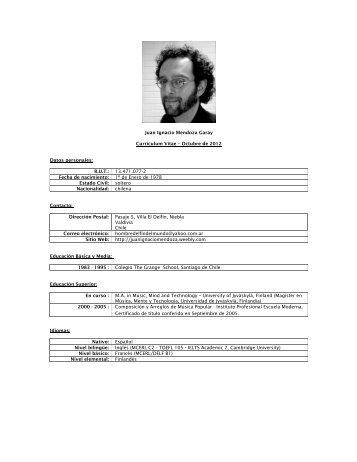 Juan Ignacio Mendoza Garay Curriculum Vitae – Octubre de 2012 ...