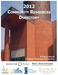 community resources directory - Community Resources Council