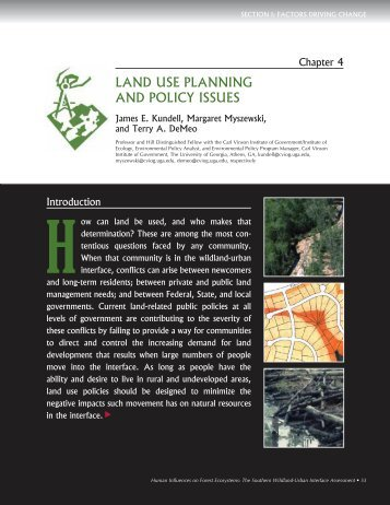 LAND USE PLANNING AND POLICY ISSUES - Interface South