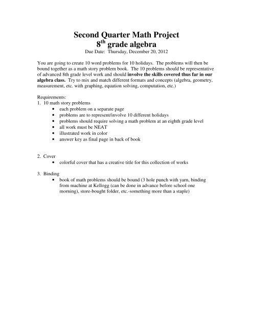 Second Quarter Math Project 8 grade algebra - Kate S