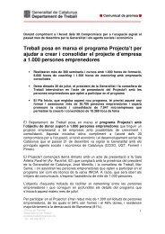 Treball posa en marxa el programa Projecta't - Premsa - Generalitat ...