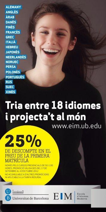 Tria entre 18 idiomes i projecta't al món - Universitat de Barcelona