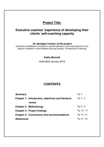 Project Title: Executive coaches' experience of ... - i-coach academy