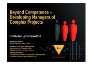 Beyond Competence – Developing Managers of Complex Projects