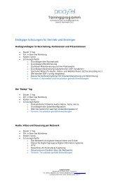 Trainingsprogramm - prodyTel