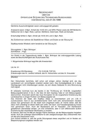 VOM DIENSTAG, DEN 31.03.1998 - Stadt Ebersberg