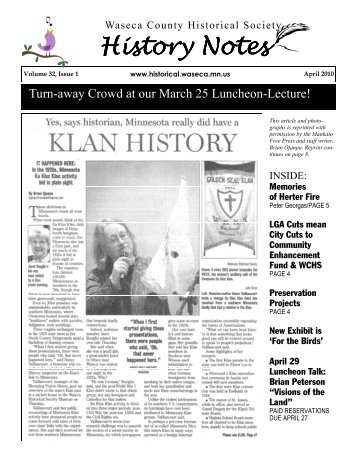 History Notes History Notes - Waseca County Historical Society