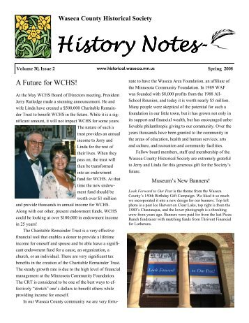 History Notes- - Waseca County Historical Society