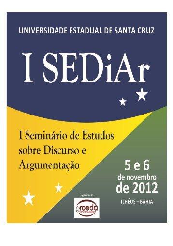 Programação e Caderno de Resumos do I SEDiAr - Uesc