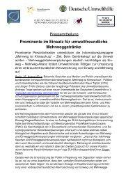 Pressemitteilung - Stiftung Initiative Mehrweg