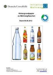 Hintergrundpapier zu Mehrwegflaschen - Stiftung Initiative Mehrweg