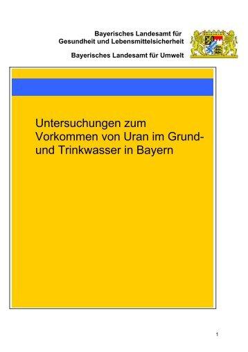 Untersuchungen zum Vorkommen von Uran im Grund - Bayerisches ...
