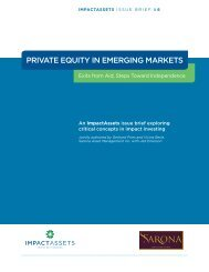PRIVATE EQUITY IN EMERGING MARKETS - ImpactAssets