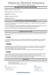 Mortgage Broker Assistant Internship Offer - French Mortgage