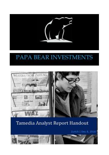 PAPA BEAR INVESTMENTS - Society