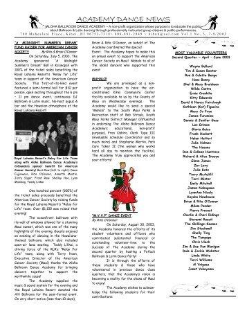 ACADEMY DANCE NEWS - Latin and Ballroom Dancing on Maui