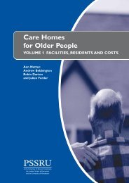 Care Homes for Elderly People: Volume 1. Facilities ... - PSSRU