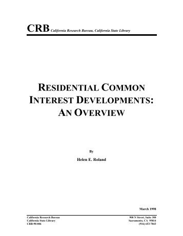 Residential Common Interest Developments - California State Library