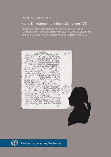 Kants Einleitung in die Rechtslehre von 1784
