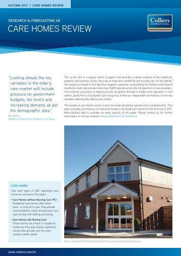 Care Homes Review | Autumn 2011 - Colliers International