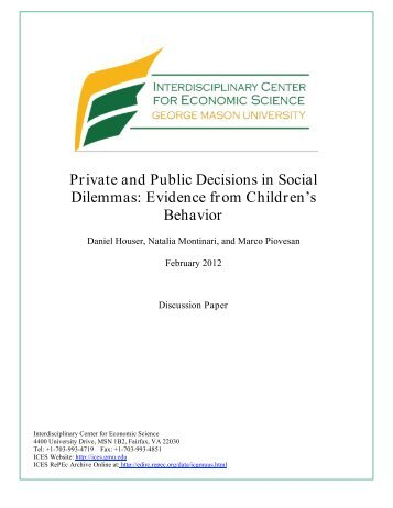 Private and Public Decisions in Social Dilemmas: Evidence from ...