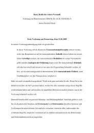 Kant, Kritik der reinen Vernunft - Philosophisches Seminar