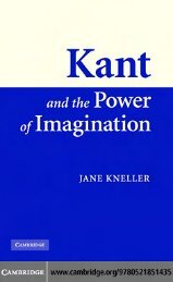 Kant and the Power of Imagination (CUP 2007 - Additional Information