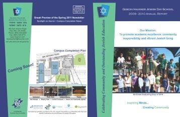 Annual Report (A) 10-13-10 - Gideon Hausner Jewish Day School
