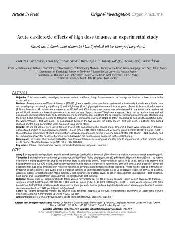 Acute cardiotoxic effects of high dose toluene: an experimental study