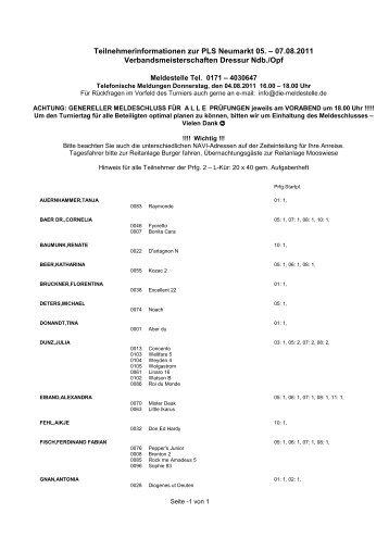 Teilnehmerinformationen zur PLS Neumarkt 05. - die meldestelle