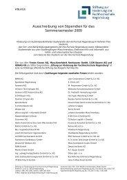 Ausschreibung von Stipendien für das Sommersemester 2009