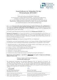 Ausschreibung von Stipendien für das Wintersemester 2010/2011