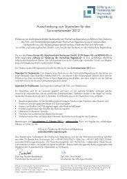 Ausschreibung von Stipendien für das Sommersemester 2012