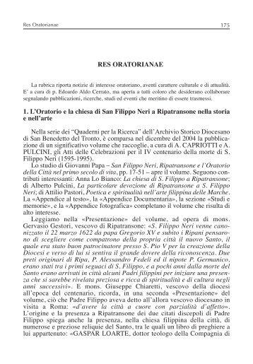 Parte II - Confederazione dell'Oratorio di San Filippo Neri