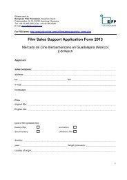 Film Sales Support Application Form 2013 - European Film Promotion
