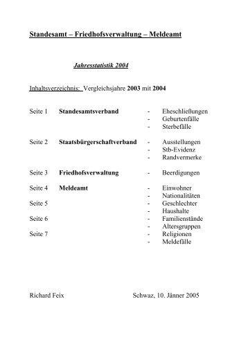 Standesamt – Friedhofsverwaltung – Meldeamt - Schwaz