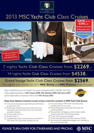 2013 Msc Yacht club class cruises - e-Travel Blackboard