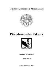 Seznam přednášek - Přírodovědecká fakulta